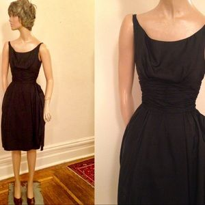 60sBlack Silk Shantung Party Dress by Betty Carol